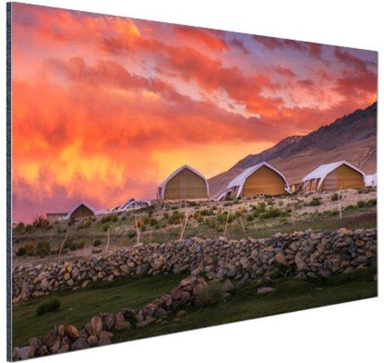 Zonsondergang India Aluminium 90x60 cm - Foto print op Aluminium (metaal wanddecoratie)