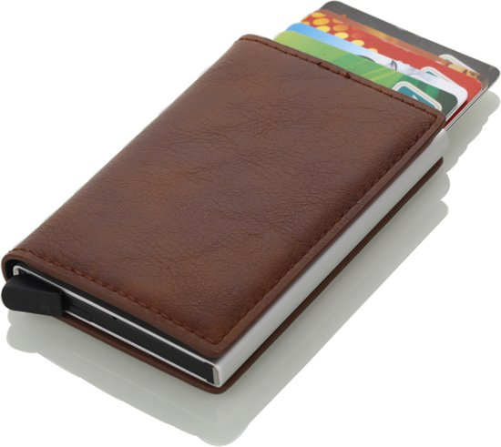 7208e026aba Pasjeshouder / Creditcardhouder - RFID Card Protector - Uitschuifbaar - PU  Leer - Bruin