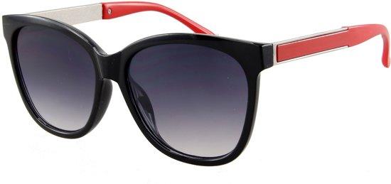 8ed097c5d1a5ef Zonnebril met zwart montuur en rode pootjes.