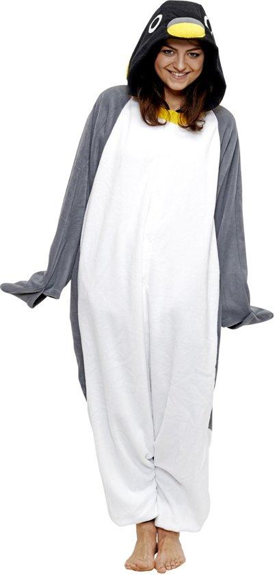 0f93bb3fe77 KIMU Onesie pinguin pak grijs kostuum - maat XL-XXL - pinguinpak jumpsuit  huispak festival