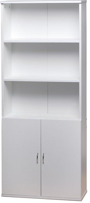 bol.com | Homestyle boekenkast 5 vakken 2 deuren - Wit -