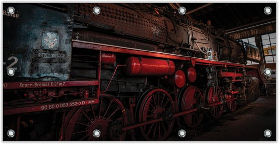 Tuinposter Stilstaande Stoomtrein / Locomotief 200x100cm- Foto op Tuinposter (wanddecoratie voor buiten en binnen)
