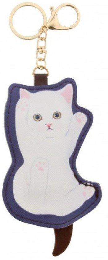 Sleutelhanger kat met ritsje op de achterkant dus geschikt om bijvoorbeeld kleingeld in te bewaren