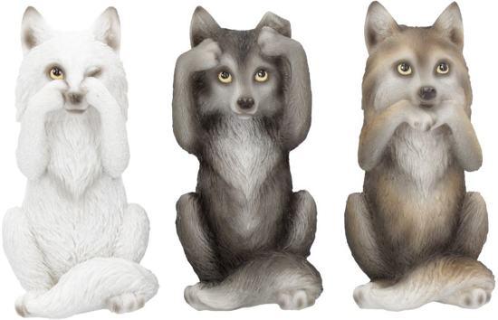 Horen Zien En Zwijgen Beeldjes.Horen Zien En Zwijgen Beeldjes Set Van 3 Wolfjes