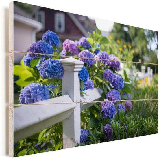 Piket hek met hortensia Vurenhout met planken 30x20 cm - klein - Foto print op Hout (Wanddecoratie)