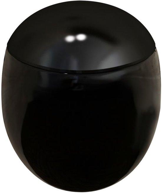 vidaXL Wandtoilet met ei-design exclusief inbouwreservoir zwart