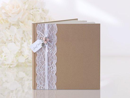 Partydeco Gastenboek kraft ribbon lace Valentinaa