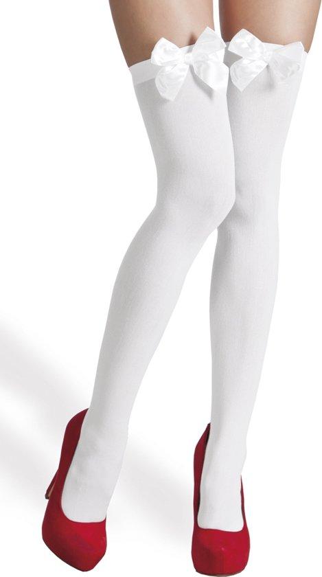 12 stuks: Kousen Bow - wit met witte strik
