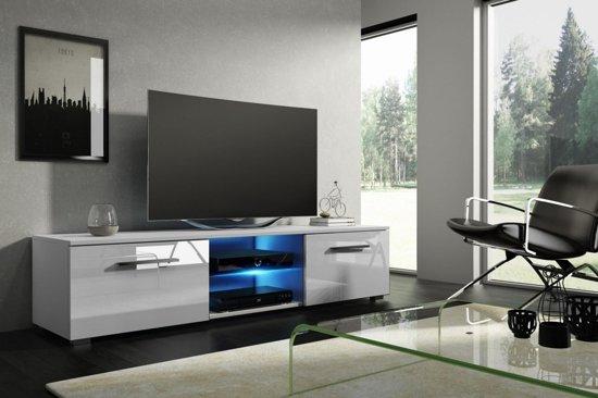 Tv Kast Hoogglans Wit Modern Design Inclusief Led Verlichting