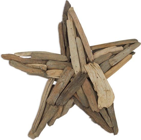 relaxdays decoratieve ster - sierster 40 cm van drijfhout - ophangen of neerzetten - hout