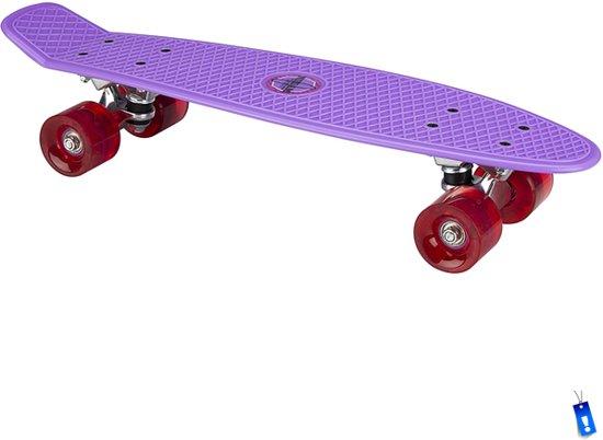 Penny Board Plastic Skateboard Retro - Met LED wieltjes - 57 cm - Paars