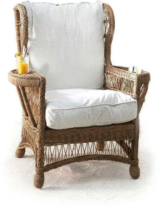 Wonderlijk bol.com | Rivièra Maison Carolina Wing Chair - Salon - Wit - Rattan KA-45