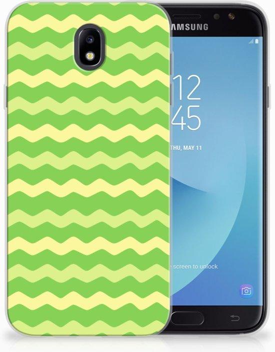 Samsung Galaxy J7 2017   J7 Pro TPU siliconen Hoesje Design Waves Green