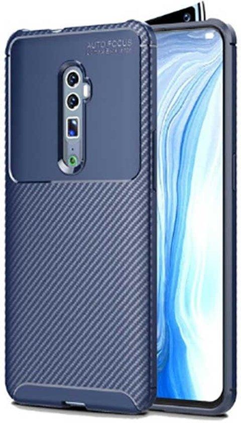 Teleplus Oppo Reno 10x Zoom Case Negro Carbon Silicone Navy Blue + Nano Screen Protector hoesje