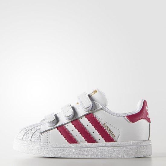adidas superstar wit met licht roze strepen