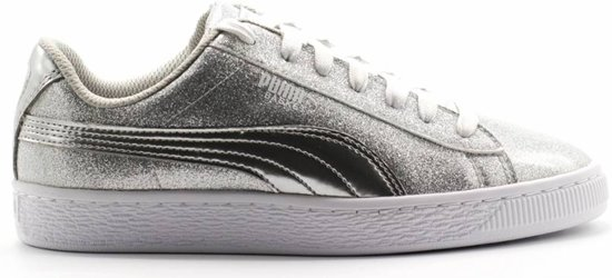 Basket Metallic Jr Puma Silver Gray Violet White maat 37