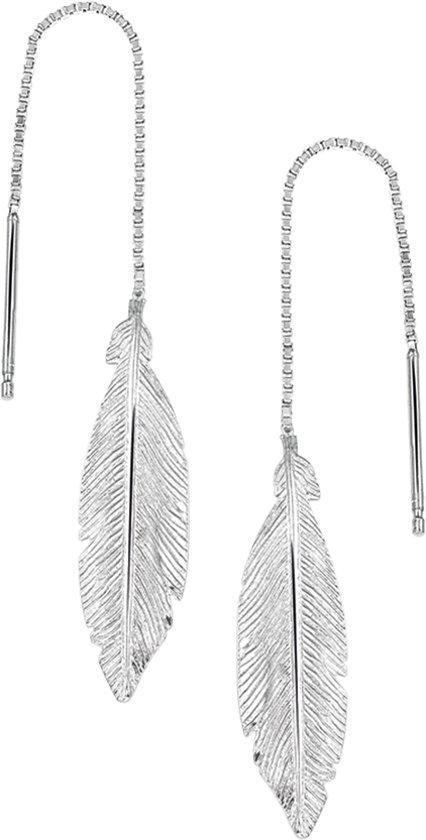 The Fashion Jewelry Collection - Oorbellen - Veer - Zilver Gerhodineerd