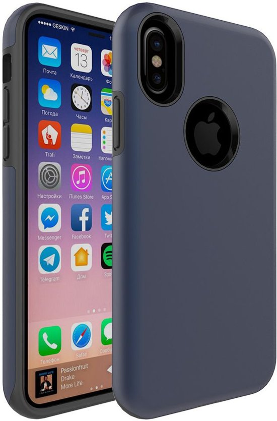 Apple iPhone X - Rubber Hard Case Blauw