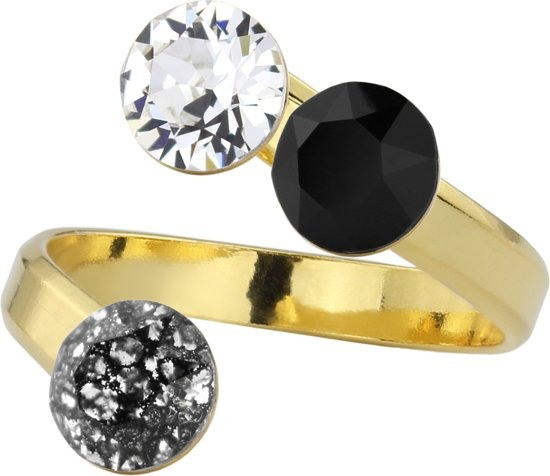 ARLIZI 1402 Ring Swarovski Kristal - Dames - 925 Zilver Verguld - 6 mm - Zwart