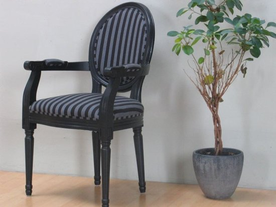 bol.com   Rococo Barok - Eetkamerstoel - Zwart met zwart gestreepte stof