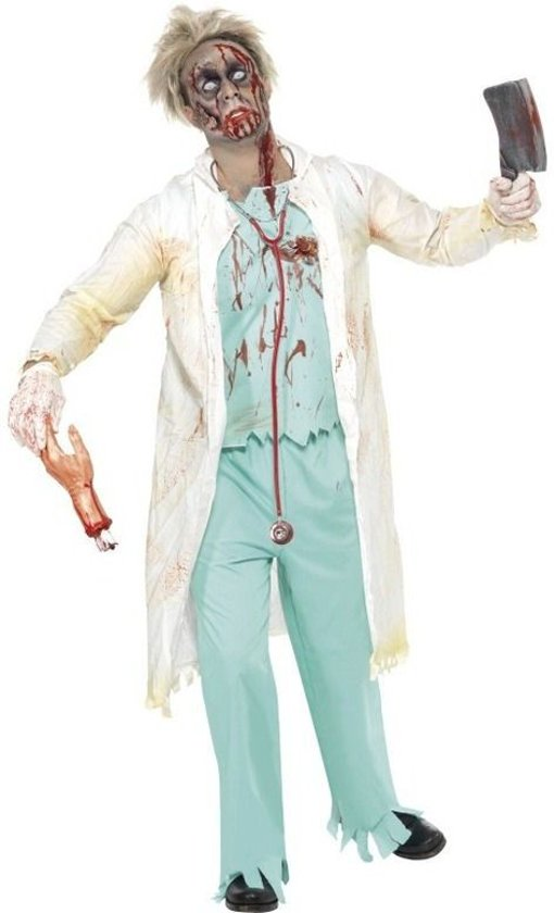 Zombie Doctor Costume, White And Gr