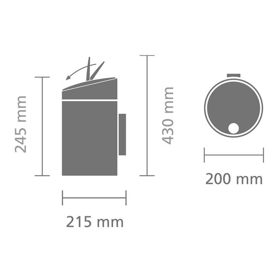 Brabantia Slide Bin Wandafvalemmer 5 L mat