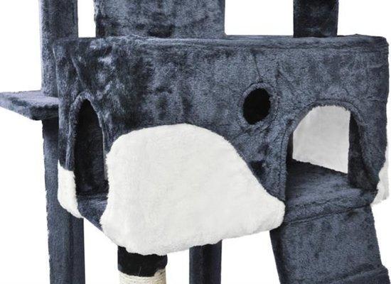 XL Katten Krabpaal- Klimpaal Kattenhuis Groot - Hoge Krabmeubel - Grote Kattenpaal - Grijs/Wit 170CM