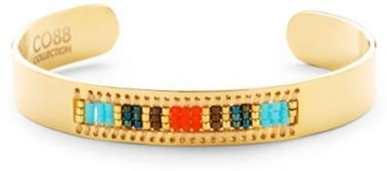 CO88 Collection 8CB-90128 - Stalen open bangle met Miyuki beads - one-size - goudkleurig