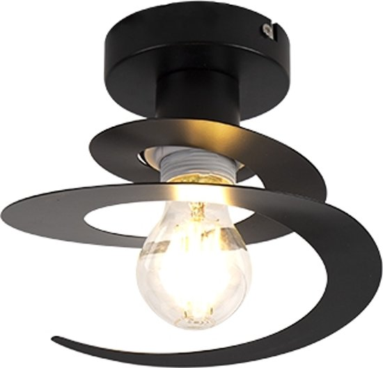 QAZQA scroll - Plafondlamp - 1 lichts - Ø 200 mm - Zwart