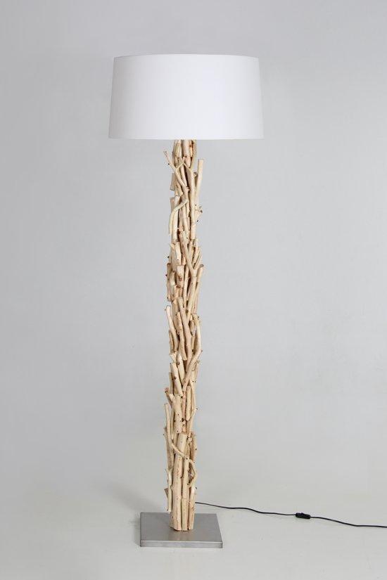 Witte Staande Lamp.Houtenlamp Brocant Staand 170 Cm Variant 2 Met Witte Kap