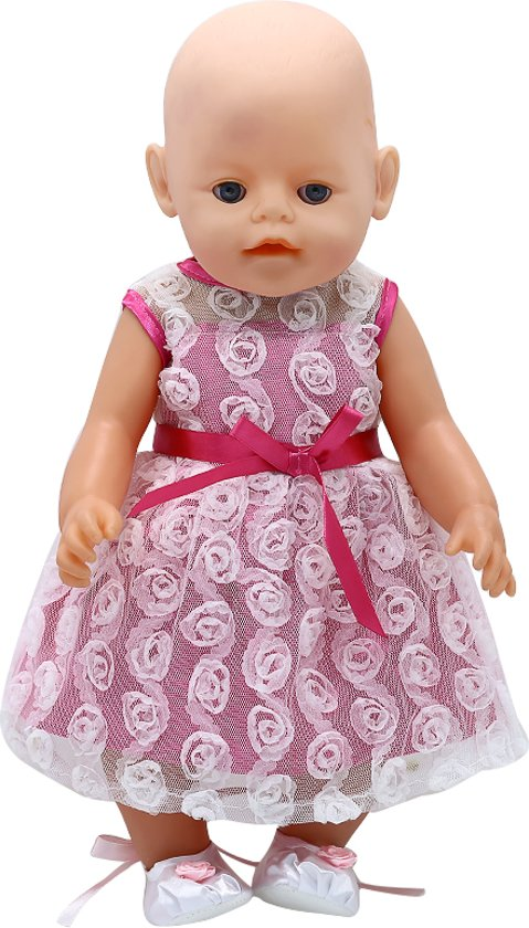 373a9883dda55e Poppenkleertjes voor Baby Born meisje - Roze jurkje met witte roosjes +  witte ballerina schoentjes