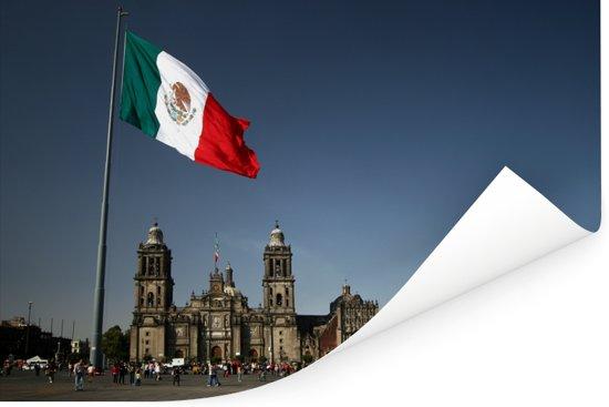 Kathedraal van Mexico-stad en de Mexicaanse vlag Poster 90x60 cm - Foto print op Poster (wanddecoratie woonkamer / slaapkamer)
