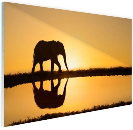 Silhouet olifant bij zonsondergang Glas 90x60 cm - Foto print op Glas (Plexiglas wanddecoratie)
