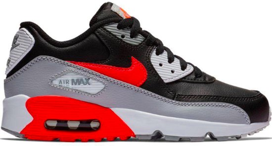 sale retailer a58f1 91027 Nike Air Max 90 Leather GS Wolf Grey  Bright Crimson - Black