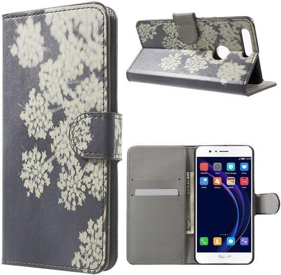 Huawei Honor 8 Portemonnee Hoesje Witte Bloemen in Dwingeloo