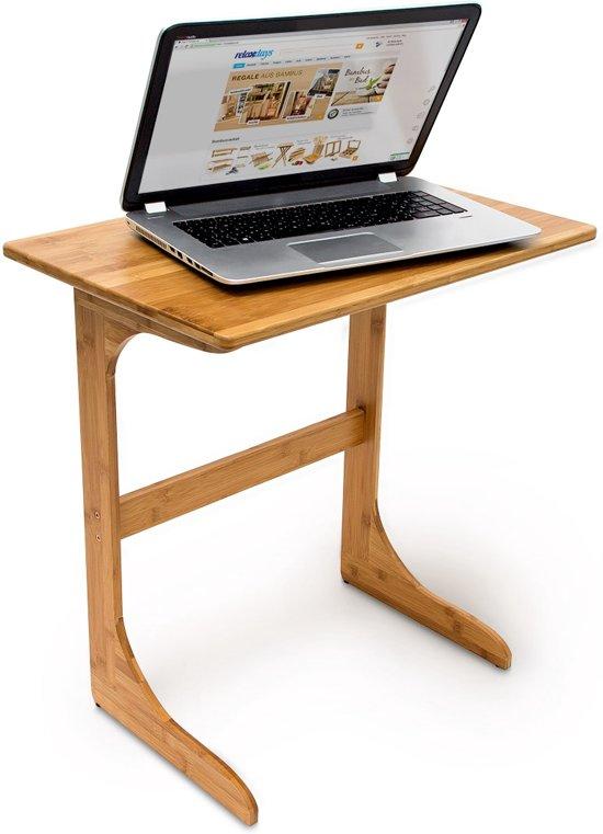 relaxdays Laptoptafel / bijzettafel bamboe hout - Houten bijzet tafel laptop - 62,5x60x40.