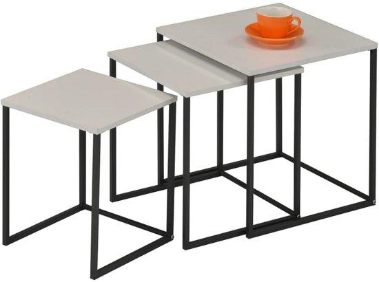 Salontafel En Sidetable.Bijzettafel Set 3 Salontafel Koffietafel Sidetable Zwart En Wit