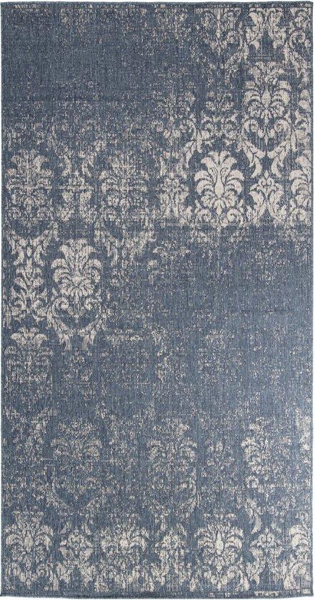 In- & Outdoor Dubbelzijdig Karpet - 80X150 cm - Blauw/Cream