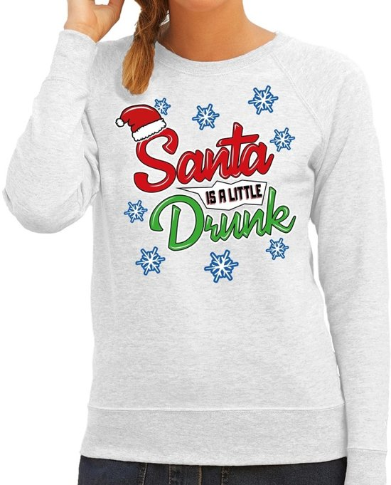 Foute kersttrui / sweater Santa is a little drunk grijs voor dames - kerstkleding / christmas outfit XL (42)