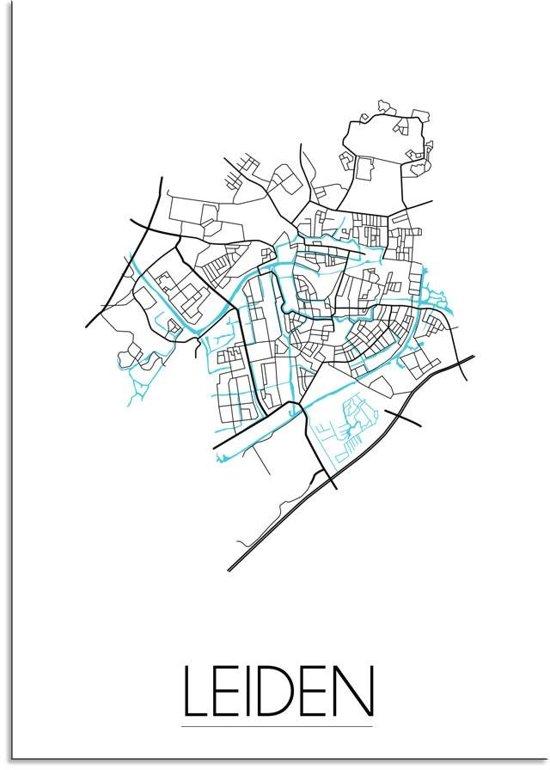 Plattegrond Leiden Stadskaart poster DesignClaud - Wit - A4 + Fotolijst zwart