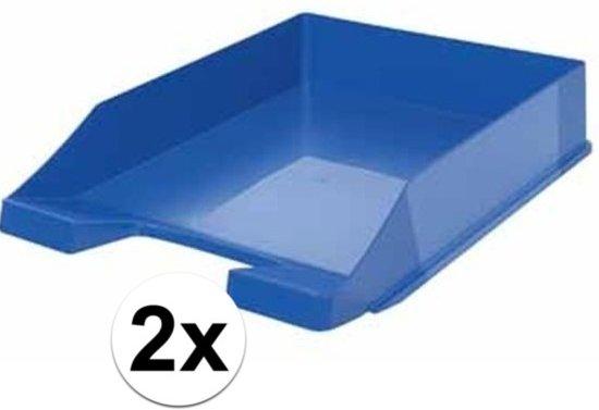 Brievenbakjes blauw A4 formaat - 2 stuks