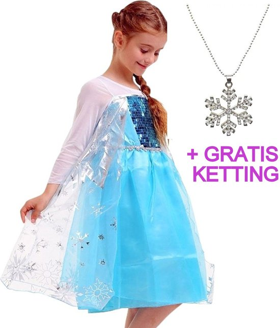 Elsa jurk - Prinsessenjurk - maat 92-98 (110) lengte 65 cm + Gratis Ketting