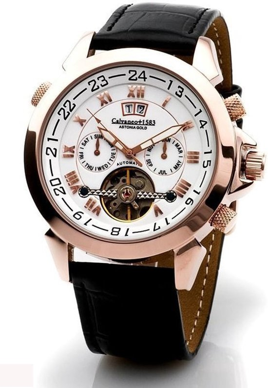 Calvaneo 1583 Calvaneo Astonia Rose Gold - Horloge - 46 mm - Automatisch uurwerk