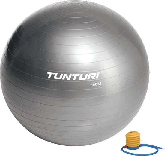 Tunturi Fitnessbal - Gymball - Swiss ball -  Ø 55 cm - Inclusief pomp - Zilver
