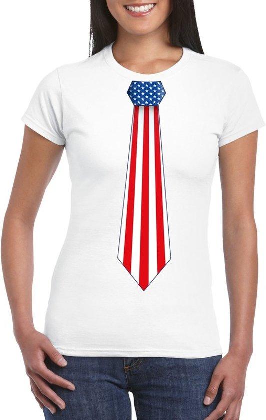 Wit t-shirt met Amerika vlag stropdas dames L
