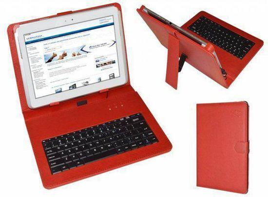 Keyboard Case voor de Hannspree Hannspad Sn1at71b, QWERTY Toetsenbordhoes, Rood, merk i12Cover in Vodelée