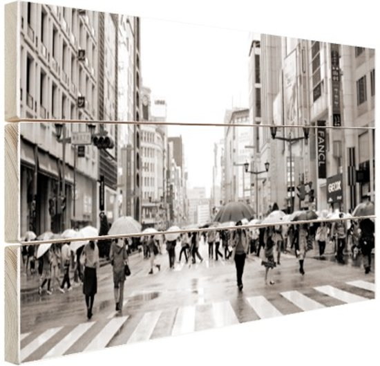 Ginza in de regen zwart-wit foto Hout 30x20 cm - Foto print op Hout (Wanddecoratie)