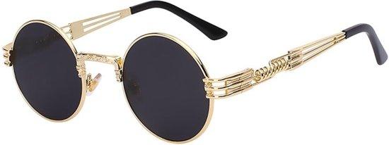 6d29d69cc1299b Steampunk zonnebril zwart heren - zwarte ronde glazen - vintage rond  montuur festival