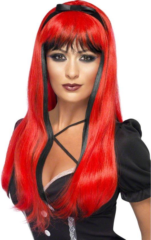 Rood-zwarte pruik voor vrouwen - Verkleedpruik - One size