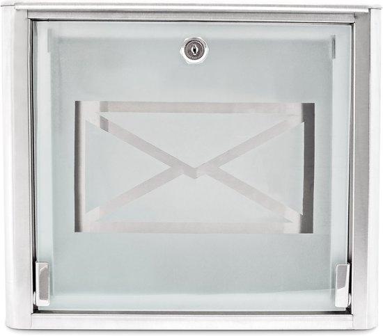 relaxdays Brievenbus bijzonder design - Edelstaal rvs melkglas - Wandmodel - Wand.